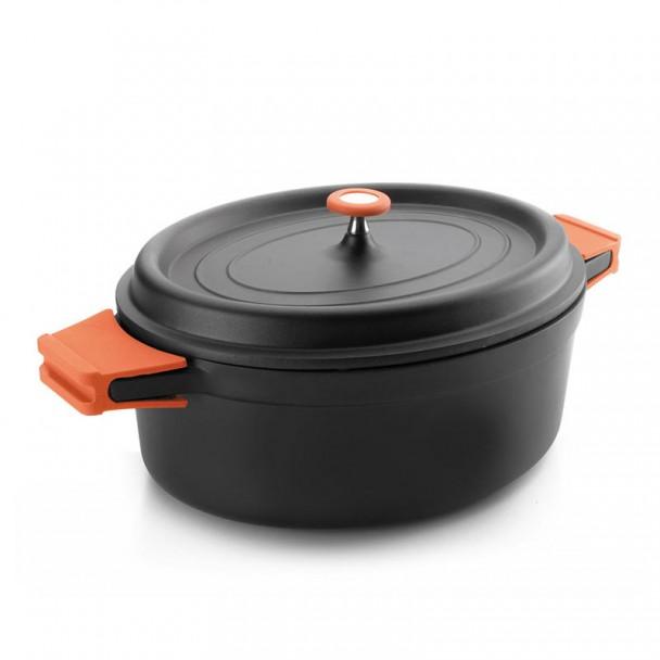 Pan Noir de forme Ovale avec Couvercle en Fonte
