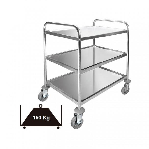Chariot de Service 3 Plateaux Amovibles en acier Inoxydable de 150 kg
