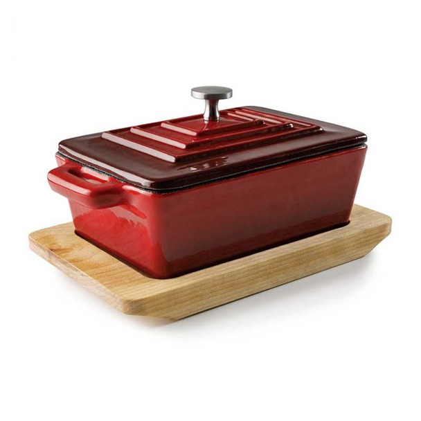 Pan Rectangulaire avec Couvercle, Rouge Magma